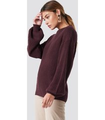 na-kd dropped shoulder knitted sweater - burgundy