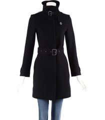 burberry brit black wool cashmere buckled belted coat black sz: xs