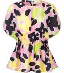 leila watercolour flora blouse
