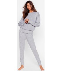 womens you time knitted sweater and joggers lounge set - grey marl