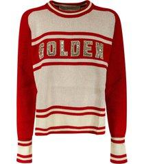 golden goose ribbed knit embellished logo sweater