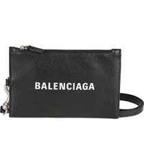balenciaga top-zipped logo wallet