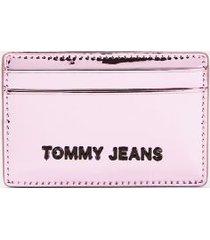 tommy hilfiger women's tj metallic credit card holder rose gold -