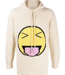 maison flaneur emoji embroidered hoodie - neutrals