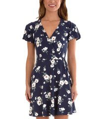 bcx juniors' floral flutter-sleeve dress