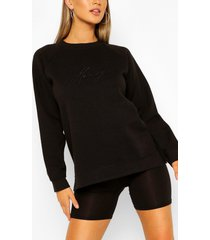 honey embroidered sweater, black