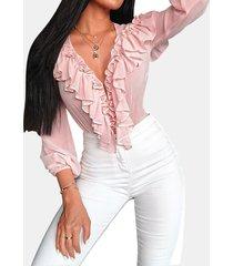 camicetta casual a maniche lunghe a balze tinta unita per donna