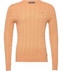 pima cotton cable gebreide trui met ronde kraag oranje morris