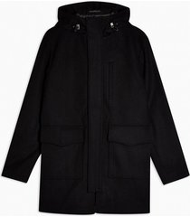 mens selected homme black recycled wool blend parka