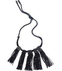 buffalo fringe belt, women's, black, josie natori