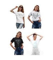 kit 4 camisetas femininas my t-shirt life branca e preta