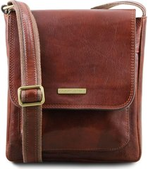 tuscany leather tl141407 jimmy - borsello da uomo in pelle con tasca frontale marrone