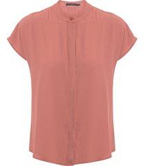 camisa feminina chiffon vista sobreposta - rosa