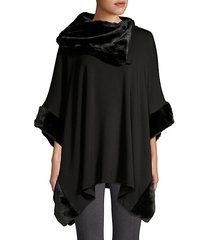 faux fur-trim poncho