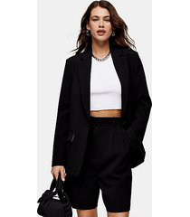 black single breasted crêpe suit blazer - black