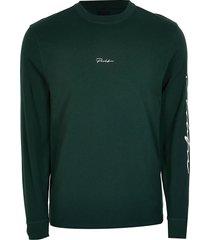 river island mens prolific dark green long sleeve t-shirt