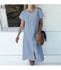 zanzea las mujeres de manga corta camisa de vestir casual de split hem llana sólida vestido de tirantes -azul
