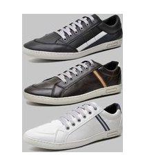 kit 3 pares sapatênis casual dexshoes preto/café/cinza