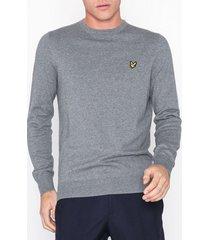 lyle & scott cotton merino crew tröjor grey