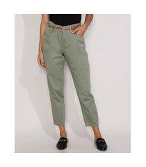 calça de sarja feminina clochard cintura alta com cinto verde