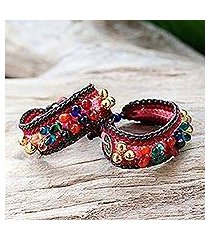beaded wristband bracelets, 'bold pink fortunes' (pair) (thailand)