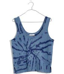 women's madewell fairview tie dye sweater tank, size large - blue