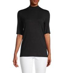 saks fifth avenue women's mockneck short-sleeve top - white - size xs