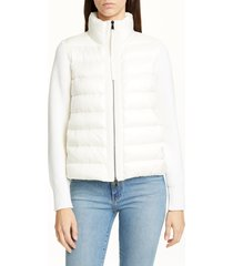 women's moncler quilted down & wool short cardigan, size large - white