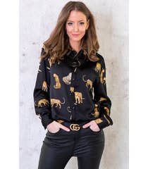 limited leopard blouse silk