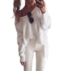 women off shoulder v neck blouse top ladies long sleeve knitted sweater clubwear