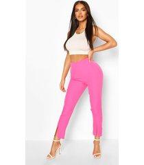getailleerde broek met split, warm roze