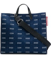 dsquared2 logo-printed denim tote bag - blue