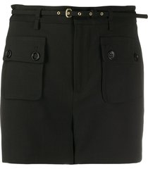 redvalentino belted tailored shorts - black
