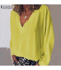 zanzea mujeres camiseta de manga larga con cuello en v camiseta top tee sólido llano básico de la blusa nuevo -amarillo
