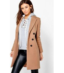 petite double breasted camel duster coat, camel