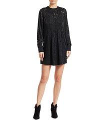 rag & bone women's rubie burnout floral mini dress - black - size s