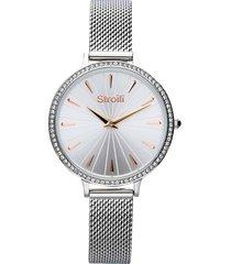 orologio solo tempo con cinturino maglia milanese e cassa in acciaio silver per donna