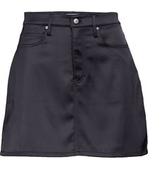 satin 5pkt mini skir kort kjol svart calvin klein jeans