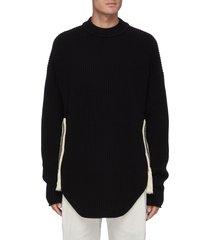 crochet side knit sweater