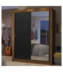 guarda-roupa solteiro madesa dallas 2 portas de correr com espelho 2 gavetas rustic/preto cor:rustic/preto