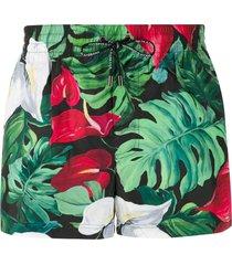 dolce & gabbana foliage print swim shorts - green