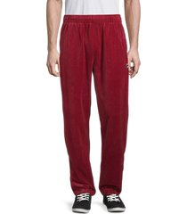 fila men's elasticized-waist velour jogger pants - biking red - size m
