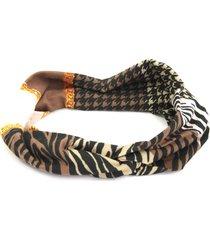 headband bijoulux turbante marrom estampado