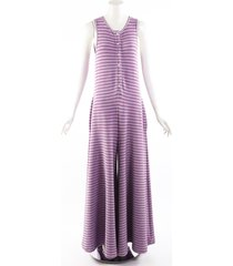 maison martin margiela mm6 purple striped lurex sleeveless jumpsuit metallic/purple sz: s