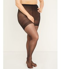 lane bryant women's smoothing tights - diamond dot g-h black