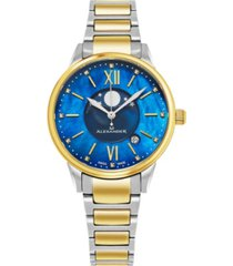 alexander watch ad204b-03, ladies quartz moonphase date watch with yellow gold tone stainless steel case on yellow gold tone stainless steel bracelet