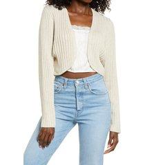 women's open edit women's crop cardigan, size xx-small - beige
