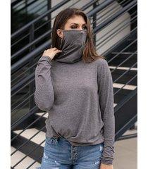 camicetta tinta unita alta collo manica lunga plus per donna