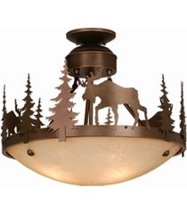 vaxcel yellowstone amber glass rustic moose semi-flush mount light or pendant
