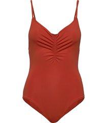solborg solid baddräkt badkläder orange rodebjer